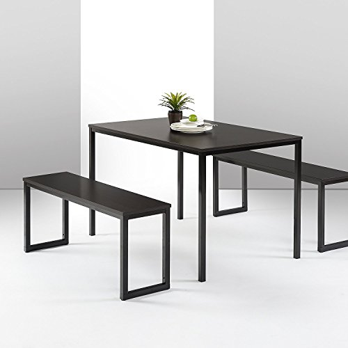 Zinus Louis Modern Studio Collection Soho Dining Table with Two Benches / 3 piece set, Espresso (Black Dining Room Table With White Chairs)