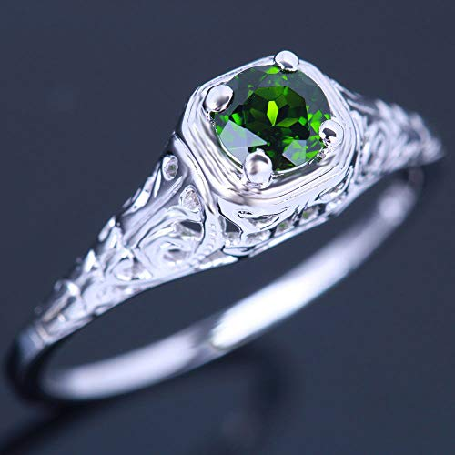 14k Diopside Ring - FidgetKute Solitaire Chrome Diopside Vintage Solid 14K White Filigree Wedding Ring