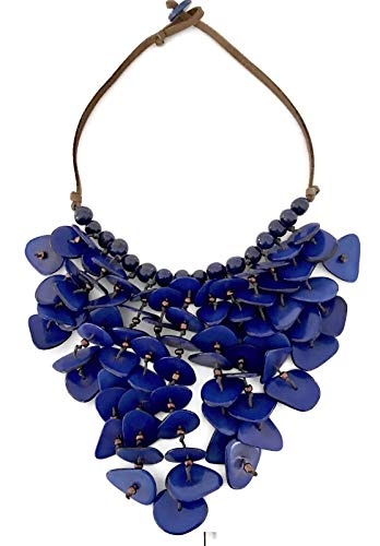 (Organic Royal Blue Tagua Nut Statement Necklace, Boho-Chic)