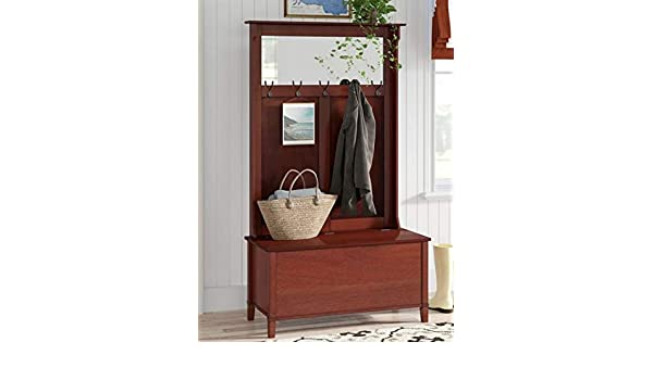 Amazon.com: Hall Trees with Bench and Coat Racks - Walnut Wood with Mirror Five Hooks Lift Top Storage Bench- Organizing Your Space with Sophistication: ...