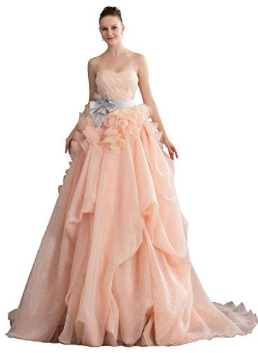 Perle GEORGE Kleid Brautjungfernkleid Homecoming BRIDE mit Schoene rosa Schaerpe Prinzessin BxBFX8q