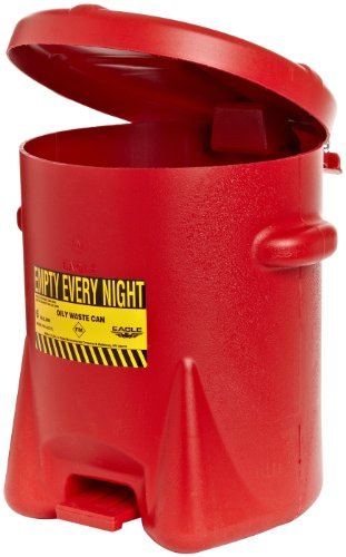 Eagle 933-FL Oily Waste Polyethylene Safety Can with Foot Lever, 6 Gallon Capacity, Red ()