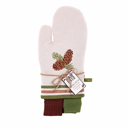 Pinecone Oven Mitt - Woodland River Pinecone Oven Mitt and 2 Dishtowel Kitchen Gift Set