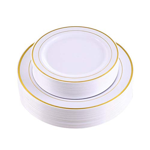 Gold Rim Dinner Plates 60 Pieces,Disposable Plastic Plates,Heavyweight Wedding Party Plates Includes:30 Dinner plates 10.25 Inch and 30 Salad Plates 7.5 inch(IOOOOO)