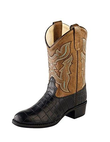 Old West Kids Boots Unisex Round Toe Croco Print (Toddler/Little Kid) Black Boot 2.5 Little Kid (Croco Print Shoe Boot)