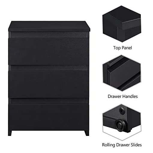 Bedroom Topeakmart 3-Drawer End Table, Vertical Sofa Side Table with 3 Storage Drawers for Living Room, 3-Drawer Cabinet with… modern bedroom furniture
