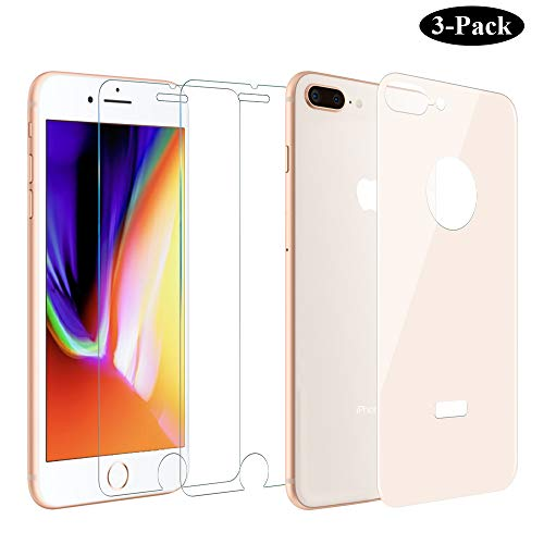 GAHOGA iPhone 7 Plus /8 Plus Back and Front Screen Protector 2.5D Ultra Clear Glass Front and 5D Back Glass Rose Gold [Bubble Free][Easy Install] for iPhone 8 Plus/7 Plus