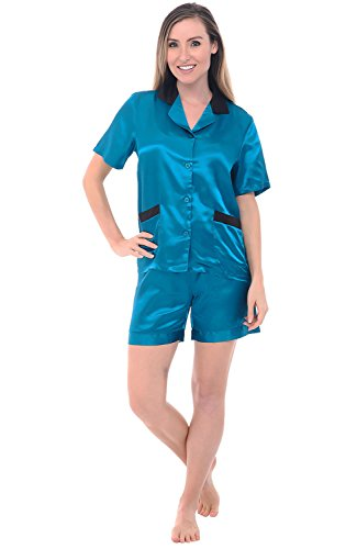 Alexander Del Rossa Womens Satin Pajamas, Short Sleeve Pj Set, XL Teal - Button Alexander