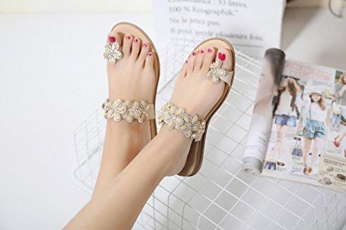 Bohème pour Chaussures Fleur des Sandales de Femmes de de Ruiren Dames D'été Abricot Plates Occasionnelles wnIAq70wPx