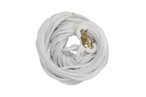 FORTISVEX 1/4 Diameter x 50' Length White Flagpole Polypropylene Halyard And Pair of 3 Inch White Rubber Coated Brass Swivel Snap - Flagpole Rope Set
