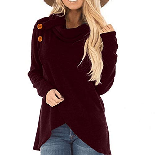 Womens Turtleneck Tunic Plaid Shirts Long Sleeve Pullover Sweatshirt (US12/XL, X-Wine Red)