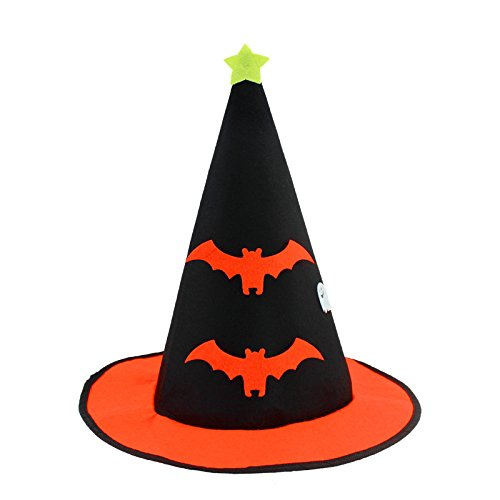 Pumpkin Colors Cool Bats Witch Hat For Halloween Party For Adult (Good Cheap Halloween Costumes For College Students)
