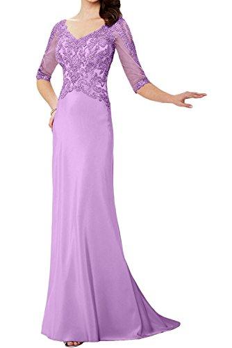 Chiffon Marie Brautmutterkleider Bodenlang Elegant Spitze Ballkleider Flieder v Braut La Ausschnitt Abendkleider Blau wq1dFnnvz
