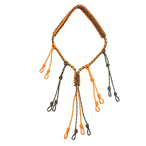 Survival Duck Call Lanyard Paracord Necklace Hand Braided Hunting Goose Calls 12 Adjustable Loops Outdoor Predator Gear for Pheasant Drops (Orange)