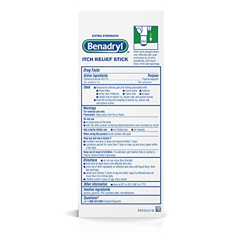 Benadryl Extra Strength Itch Relief Stick, Diphenhydramine Topical Analgesic and Zine Acetate Skin Protectant to Relieve Skin Itching and Pain, Travel Size, 0.47 fl. oz by Benadryl (Image #6)