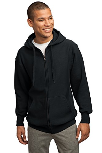 Sport-Tek Super Heavyweight Pullover Full Zip Hooded Sweatshirt, 4XL, Black