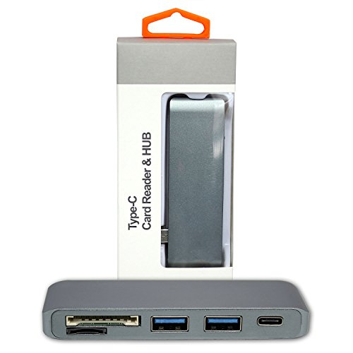 SSE Type-C USB 3.0 3 in 1 Aluminum Combo Hub for MacBook 12-Inch, 13-inch & 15-inch All-new MacBook Pro & All USB-C Devices (with USB -C Charging Port) (Space Gray)