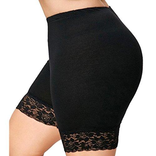 kingfansion Women's Plus Size Mid-Waist Lace Hot Pants Stretch Sneakers Shorts Panties Preventive Shorts (XL, Black)