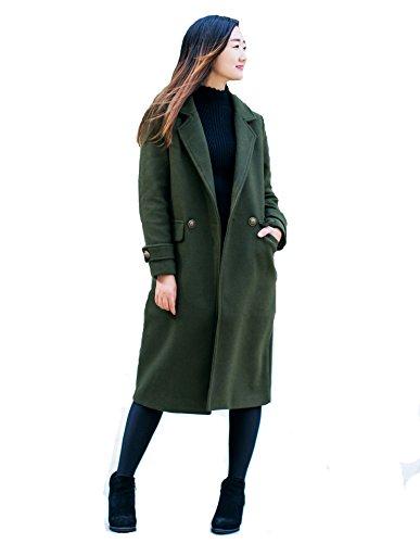Women's Long Long Woolen Coat Army Green by jeanie's lifestyle