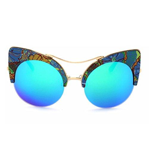 mujeres Aiweijia ojo Verde gato de de Gafas y hombres Medio marco gafas Azul Gafas sol retro qqxAwvF