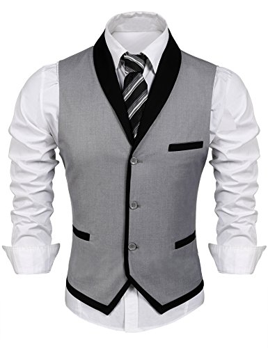 COOFANDY Men's V-Neck Sleeveless Slim Fit Vest Jacket Business Suit Dress Vest (XXX-Large, Grey)