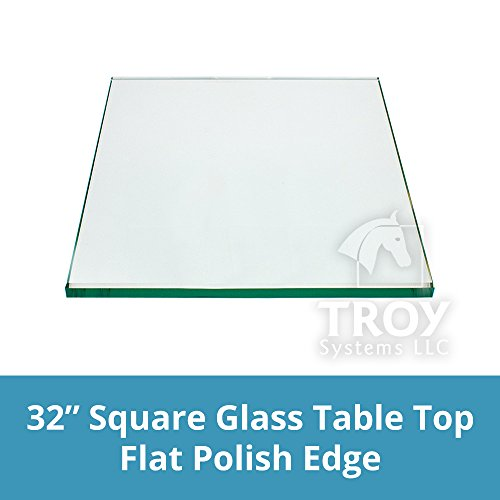 Square Glass Table Top 32 inches Custom Annealed Clear Tempered, 1/4