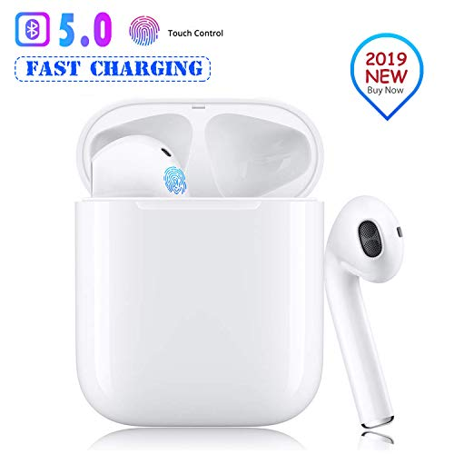 Bluetooth 5.0 Earbuds Wireless Headphones Hi-Fi Stereo Bluetooth Headset with Mini Charging Case 24H Playtime Smart Touch Pop-Up Pairing for iPhone Apple Airpods Samsung Sports Earphone