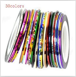 Phoenixs 30Pcs Mixed Colors Rolls Striping Tape Line Nail Art Tips Decoration Sticker Hologram Amazing with Nail Rhinestones and Nail Fimo Decoration