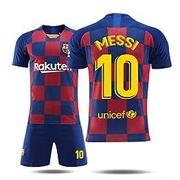 LHWLX 2019 Ensembles de Sport T-Shirt et Un Short, Maillot de Football Garçon No.10 Manche Courte Suit de Football pour Les Fans de Football Maillot De Barcelone Messi Adultes et Enfants