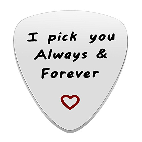 lauhonmin I'd Pick You Every Time Guitar Pick Stainless Steel Pendant Valentine Gift for Lover Women Men Boy Girl (Pick You Always&Forever(Polished))