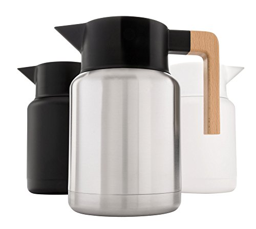 - Heavy Duty Thermal Coffee Carafe - Stainless Steel, Double Walled Thermal Pots For Coffee and Teas by Hastings Collective - Silver, Vacuum Carafes With Removable Tea Infuser and Strainer - 50 Oz.