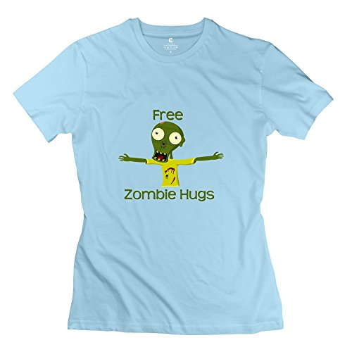 KST Free Hugs 100% Cotton T Shirt Cool For Women SkyBlue US Size X-Large]()