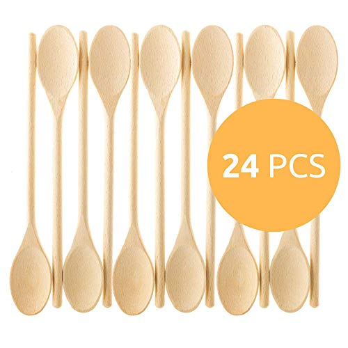 Oval Wooden Spoon - 12- Inch Wooden Kitchen Spoons Baking Mixing Serving Craft Utensils Bulk Oval Spoon Puppets Long Handle Beechwood - Set of 24 - MR. WOODWARE