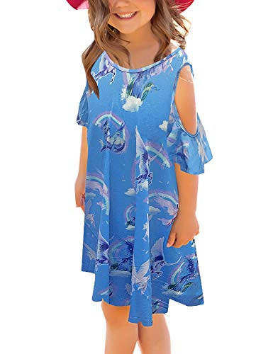 GRAPENT Girls Blue Unicorn Cold Shoulder Ruffled Short Sleeve Casual Loose Tunic T-Shirt Dress Size Large (8-9 Years)