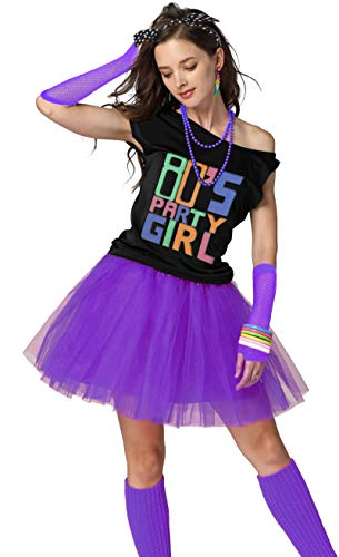 Xianhan 1980s Outfit 80's Party Girl Retro Costume Accessories Outfit Dress for 1980s Theme Party Supplies (XL/XXL, Purple) ()