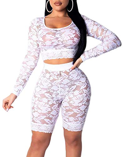 Women See Through Off Shoulder Long Sleeve Fishnet Crop Tops Bodycon Shorts Party Clubwear Tracksuit 2pcs Outfit Set (B-White lace, S)]()