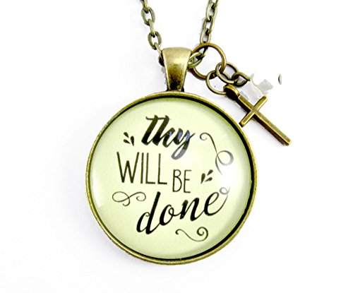 24 Thy Will Be Done Christian Saying Necklace Vintage Hand Lettered Style Bronze Round Glass Pendant Cross Charm