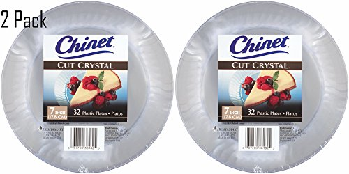 Cut Crystal Party Plastic (Chinet Cut Crystal Clear Plastic 7 inch Plates (64))