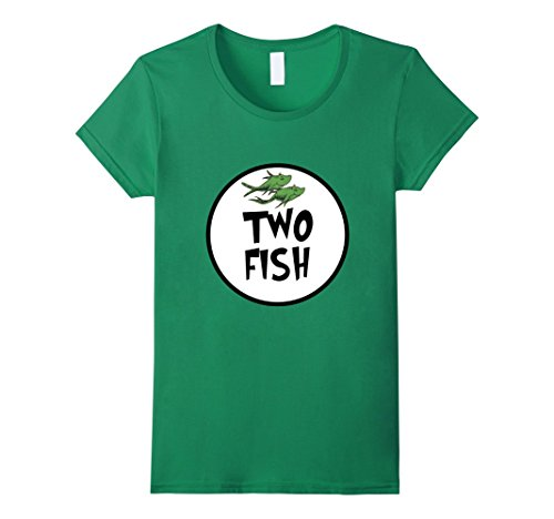 Womens Cute Rhyming Two Fish T-shirt | Group Matching Costume Large Kelly -