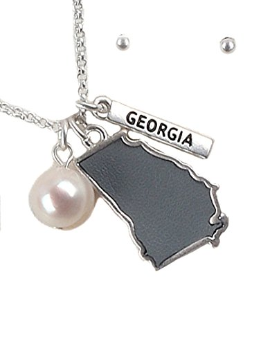 - Fashion Jewelry ~ State Shape Charm Pendant Necklace and Earrings Set (State of Georgia Silvertone Gray)