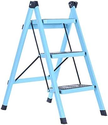 Stepladder Escalera de acero de 3 pasos - Patas antideslizantes - Fácil de guardar plegable - Ideal para casa/cocina/garaje Capacidad máxima de 150 kg (Color : Light blue): Amazon.es: Bricolaje y herramientas