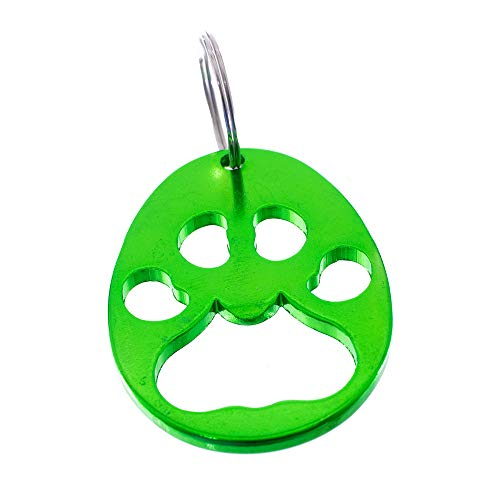 Paw Print Metal Keychain and Bottle Opener with Split Ring – Packs of 1, 2, 5, and 10 – Colors Include Black, Blue, Gold, Green, Purple, Red, and Silver ()