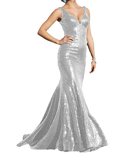 Mermaid V-neck Court Train - Little Star Women's Long V Neck Prom Dresses 2018 Sexy Silver Sequins Mermaid Evening Ball Gown Bridesmaid Party Dress