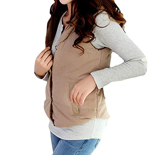 (Women Warm Hooded Vest Coat Thick Cotton Padded Slim Regular Button Jacket Outwear (Khaki, US:6)