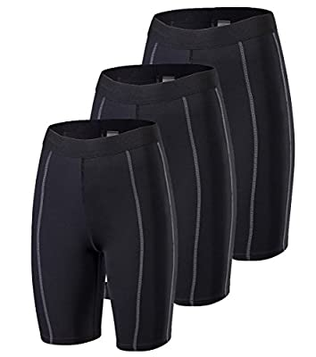 Rdruko Women's 3 Pack Compression Shorts Athletic Workout Yoga Running Shorts