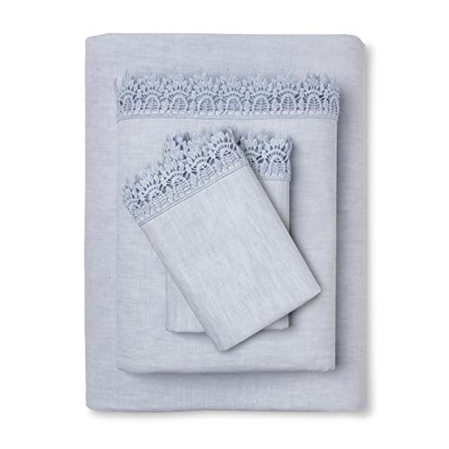 Simply Shabby Chic Linen Cotton Blend 4 Pieces Sheet Set, Blue, Size: Full