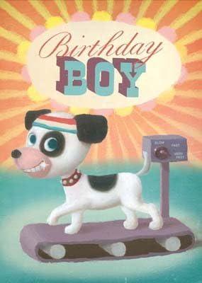 Birthday Boy - Perro en una cinta de correr - Tarjetas de ...