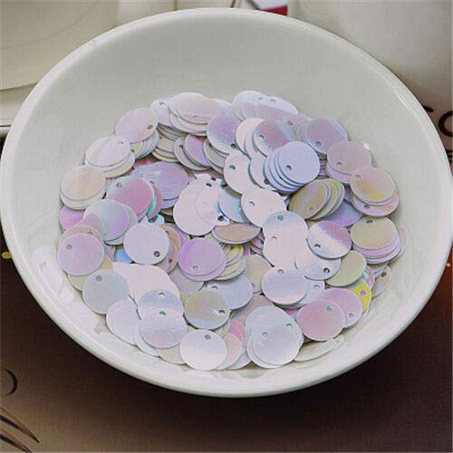 (50pcs 20mm Charm Round Loose Sequins Paillettes DIY Sewing Belly Dance Clothes (Color - White AB))