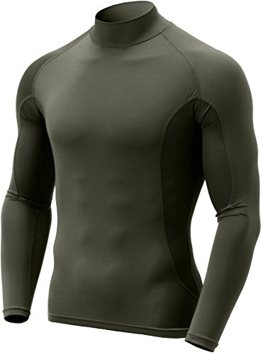 CQ-TUT102-TGN_Small CQR Men's Mock Long-Sleeve Mesh-Side Compression Cool Baselayer Top TUT102 ()