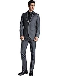Men's 2 Pieces 2 Buttons Slim Fit Formal Business Suit with Expandable-Waist Pants